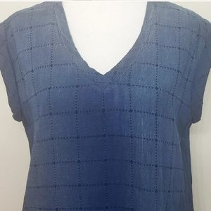 Anthropologie Dresses - Cloth and Stone Grid Stiched Chambray Tunic Dress